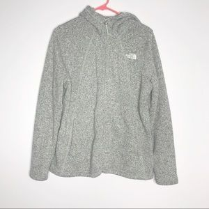 North Face gray fleece zip up hooded jacket large
